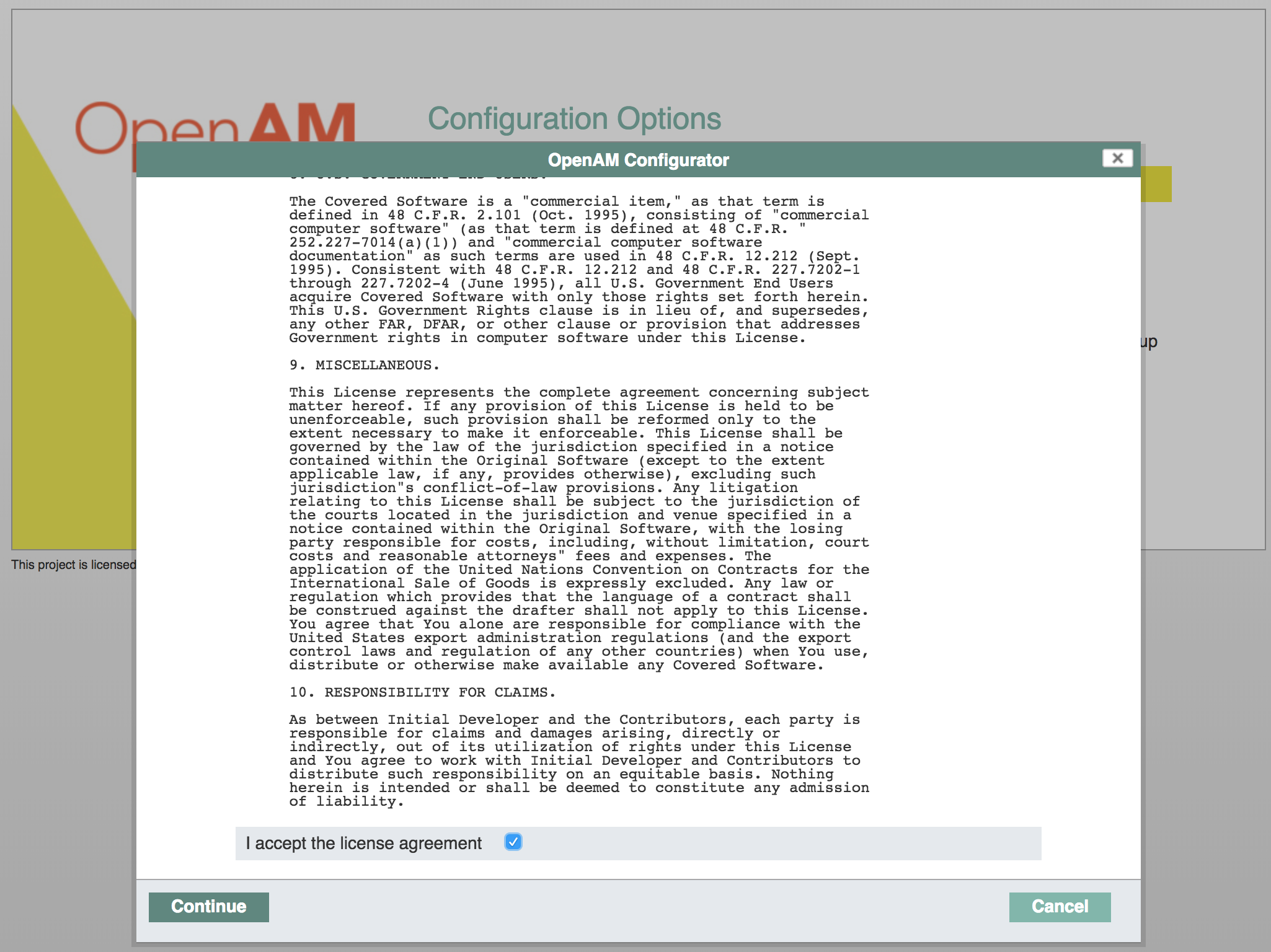 OpenAM License Agreement