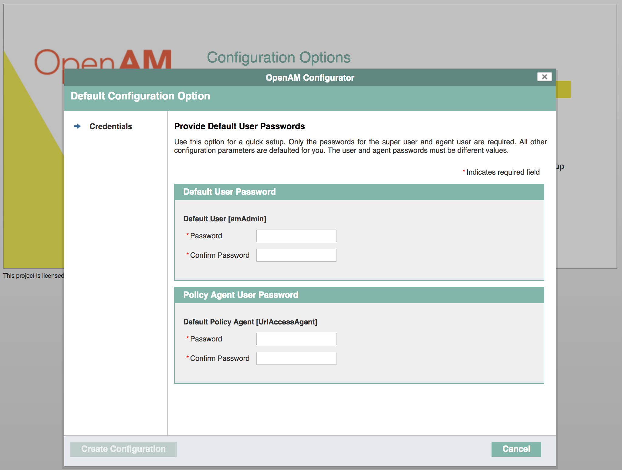 OpenAM Set Passwords