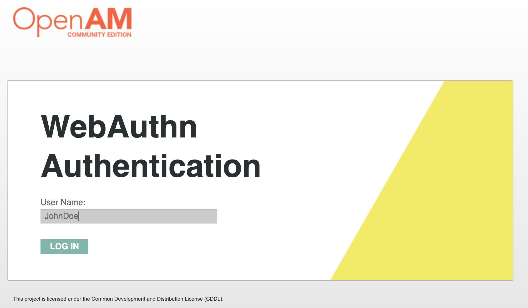 OpenAM  WebAuthn Authentication User Name